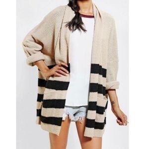 BDG Tan Black Striped Knit Open Front Cardigan XS